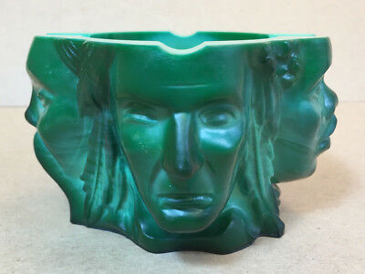 "Signed Moser ""4 Faces of Humanity"" Malachite Glass Ashtray"