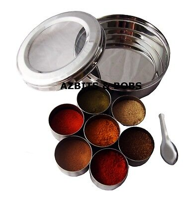 Indian Spice Tin Box Masala Dabba Spices Container Herbs Storage Box