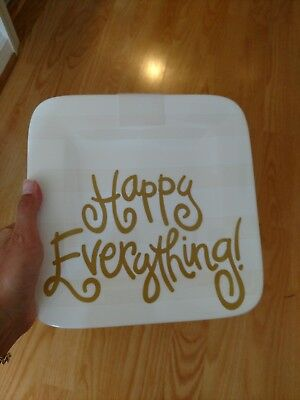 Coton Colors Happy Everything White Gold stripe Mini Plate Platter NWOB 9.25 In.