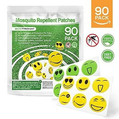 Natural 100% Deet Free Mosquito Repellent patches. 90 pack. Citronella
