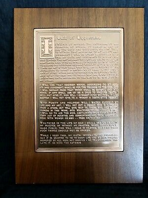 Vintage HIPPOCRATIC OATH plaque copper wood wall hanging OATH OF HIPPOCRATES