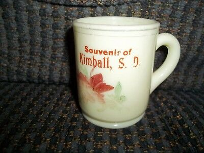 "Kimball South Dakota Souvenir Custard Glass Small Cup 2 1/2"" Tall"