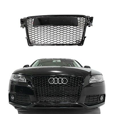 RS4 Style Gloss black Bumper Grille Honeycomb Mesh For Audi A4 B8 2009 2012