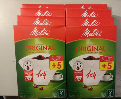 Pack of 8 Melitta Coffee Filter Papers 1X4 size box of 40 filters
