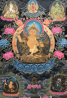 Genuine, Hand Painted, Tibetan, Manjusri Bodhisattva, Thangka, Thanka In Gold