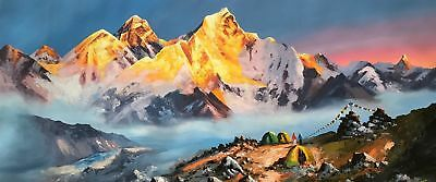 """MOUNT EVEREST SUNRISE VIEW ORIGINAL KNIFE PAINTING WITH ACRYLICS 22"""" x 52 """""""