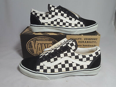 347d32edaede Vintage Vans OLD SKOOL BLACK WHITE CHECKERS made USA Men s Size 12 NOS  SKATE HI