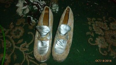 Authentic Vintage Size 12 Gold Floral and Silver Platform Shoes 1970's Real Deal