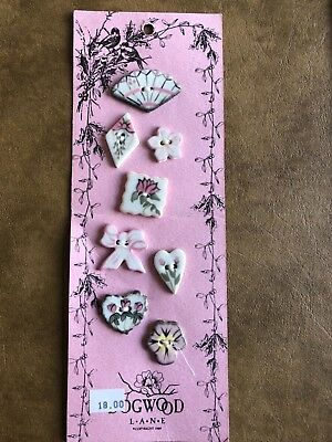 DOGWOOD LANE ~ 8 Ceramic Floral Painted Shaped Buttons ~ New on Card