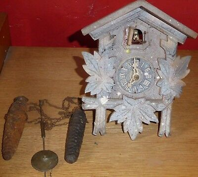 Antique Cuckoo Clock for spares or repairs
