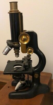 Antique Bausch & Lomb Microscope in an Antique Wooden Case