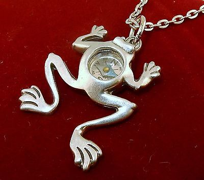 Pewter Leaping Frog Compass pendant on Chain
