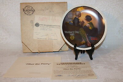 Norman Rockwell Collector Plate Knowles 1981 AFTER THE PARTY Mother's Day