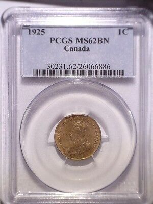 1925 PCGS MS62BN Canada Small One Cent OBH; Penny; POP=9; Only 38 higher! LUSTER
