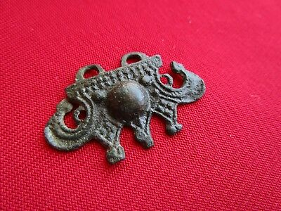 Ancient Celtic bronze pendant / amulet  . beautiful motives . circa 100 BC.