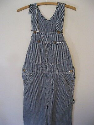 """Vintage LEE OVERALLS Hickory Railroad Stripe UNION MADE LABEL Clean 33"""" waist S"""