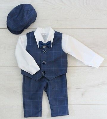 Baby Boy Suit Gentleman Navy Outfit Smart Birthday Party Baptism Christmas