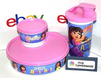 Tupperware Lunch Set Dora and Friends 10 oz. Tumbler Big Wonders Bowl Snack Cup