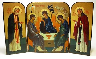 Triptych Orthodox icon of the Holy Trinity Seraphim of Sarov Sergius of Radonezh
