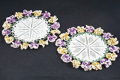 """2 Vintage Hand Made Crochet Pansy Floral Doily Purple Yellow Green White 10"""""""