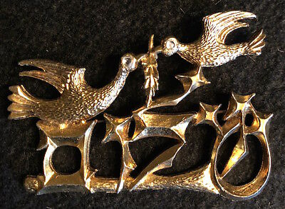 World Renown CHAIM GROSS 1972 Gold Signed PEACE Pin Pendant Brooch FREE SHIPPING