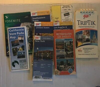 Travel Maps Lot Of 9