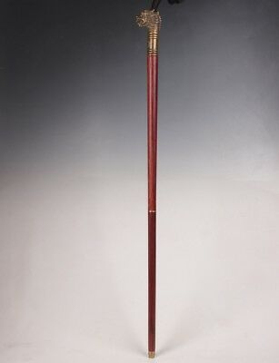 Old bronze statue dragon walking stick head handle mahogany crutches folded