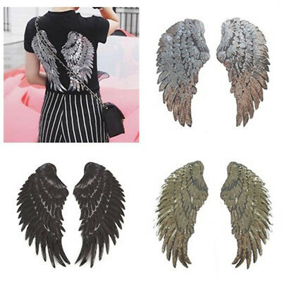 1 Pairs Decor Iron-On Embroidered Patch large Angel Wings Applique Motif Sequins