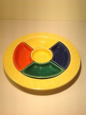 Fiesta Lazy Susan Divided Relish Chip Dip Tray Unmarked Yellow Blue Orange Green