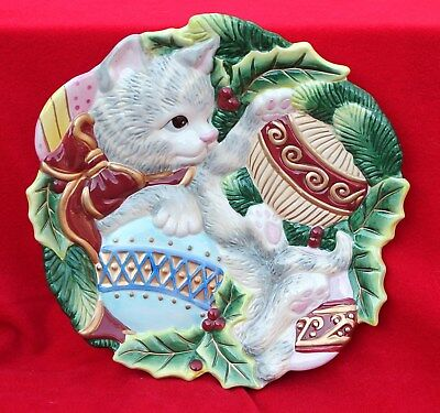 Fitz and Floyd Christmas Kitty Canape Plate Cat Kitten Holidays Candy Dish