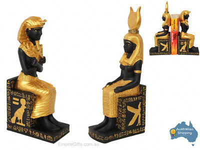 1pc 28cm Egyptian King + Queen Statues on Hieroglyphics Throne SET