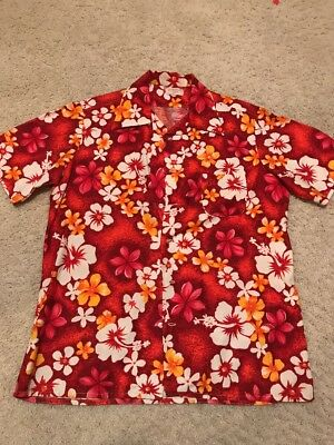 True Vintage Hawaiian Shirt Handmade Unisex Size M-L Orange Red White