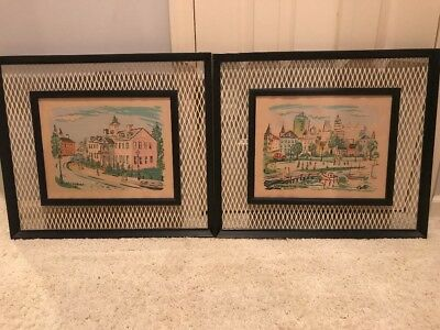 Vtg Mid Century Wall Art PairW/ Metal Grate Frames- Signed Cole 1950s City Scene