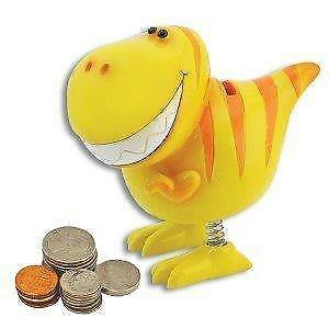 Smiling Bobble Yellow Children's T-Rex Dinosaur Bank Spring Legs Piggy Bank