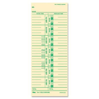 "TOPS Time Cards, Weekly, 1-Sided, Numbered Days, 3-1/2"" x 9"", Manila, Green"