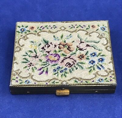 Vintage Floral Petit Point Rectangular Powder Compact with Mirror And Pad