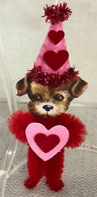 Handmade Chenille Pipe Cleaner Paper Valentine Red Pink Puppy Tree Ornament
