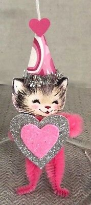 HANDMADE CHENILLE PIPE CLEANER PAPER VALENTINE KITTY CAT w HEART TREE ORNAMENT