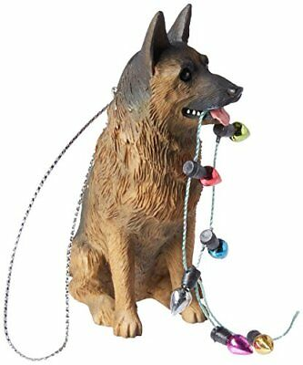 Sandicast German Shepherd Holding Holiday Lights Christmas Ornament