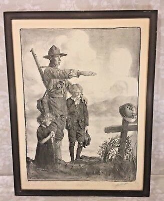 Vtg World War I Print Soldier Standing Over Grave Signed by Artist/Illustrator