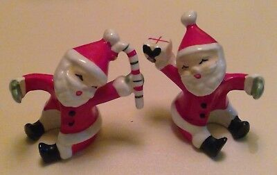 Vintage Pair of Napco Santa Claus Candle Climbers Huggers 1957