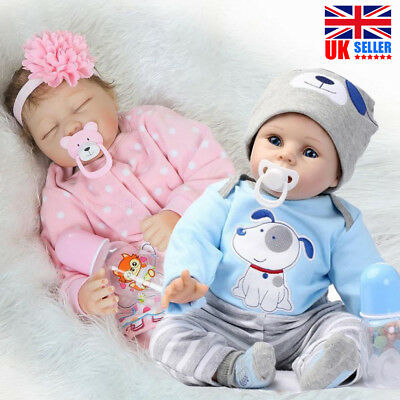 "22"" Boy/Girl Soft Silicone Reborn Baby Dolls Lifelike Newborn Realistic Doll UK"