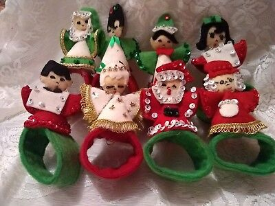 Vintage 8 Christmas carolers felt sequin handmade napkin rings table decor cute