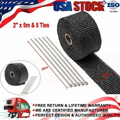 "Exhaust Manifold Downpipe Black Heat Wrap 2/"" x 15m /& 5 Ties rap De Cat Pipe Tape"