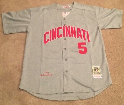 online retailer a71ef bbc3c JOHNNY BENCH CINCINNATI Reds Retro Throwback Jersey Mens XL ROAD GRAY RARE