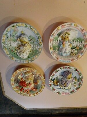 Cherished Teddies.Four Seasons Plates(4).With original certificates & boxes.