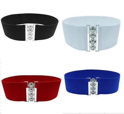 Womens Girls Wide Waist Belt With Silver Buckle Thick Elasticated stretch belts