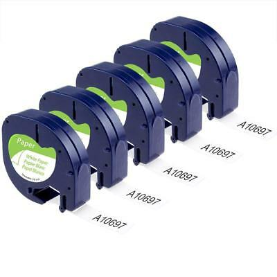 5PK 91330 91200 Compatible for Dymo White Paper LetraTag Label Tape LT100H 1/2''