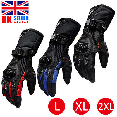 UK Thermal Waterproof Winter Motorbike Motorcycle Gloves Touch Screen Mittens