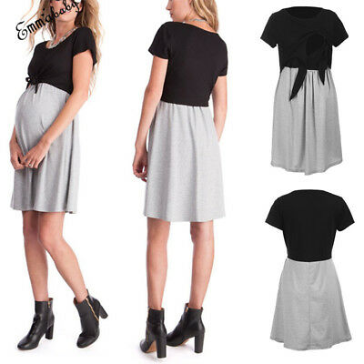 Maternity Pregnant Women Short Sleeve Breastfeeding Dress Nursing Clothes Wear